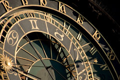 Prague hours. Fragment of an astronomical clock in Prague on the Old City square Royalty Free Stock Image