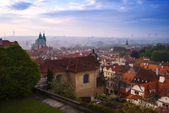 Prague houses. Beautiful red roofs of Prague houses Royalty Free Stock Image