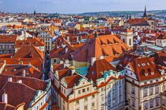Prague houses roofs, Czech Republic. Aerial view on Old Town Square, royalty free stock images