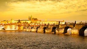 Prague Hradcany Panorama on golden sunny day. Charles Bridge over Vltava River with Prague Castle, Czech Republic Royalty Free Stock Images