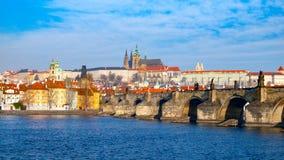 Prague Hradcany Panorama on sunny day. Charles Bridge over Vltava River with Prague Castle, Czech Republic Stock Images