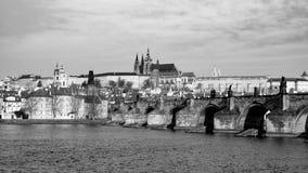 Prague Hradcany Panorama on sunny day. Charles Bridge over Vltava River with Prague Castle, Czech Republic Royalty Free Stock Photo