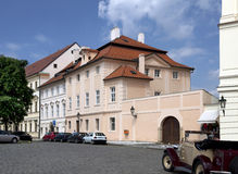 Prague - Hradcany Square with historic residential buildings Stock Photo