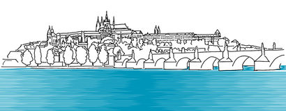 Prague Hradschin Vector Outline Sketch Royalty Free Stock Images