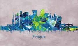 Prague huvudstad av Tjeckien, horisont royaltyfri illustrationer