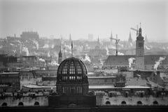 Prague i vinter från den Letnà ¡ kullen royaltyfria bilder
