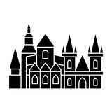 Prague icon, vector illustration, black sign on isolated background Stock Images