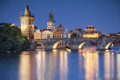 Prague. Image of Prague, capital city of Czech Republic, during twilight blue hour royalty free stock image