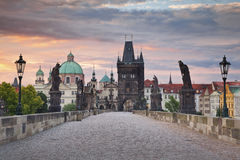 Prague. Image of Prague taken from famous Charles Bridge Stock Photo