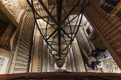 Prague inre av det gamla stadshuset (det 15th århundradet) stairwell Fotografering för Bildbyråer