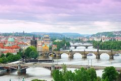 Prague and its multiple bridges across Vltava river Stock Photography