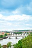 Prague and its multiple bridges across Vltava river Stock Images