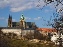 Prague and its red roofs, hidden streets and old houses Royalty Free Stock Image