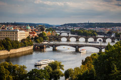 Prague with its splendid bridges over the Vltava river Royalty Free Stock Photos