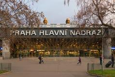 Prague järnvägsstationyttersida royaltyfri fotografi