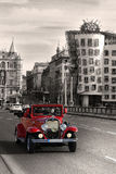 red retro mobile on the bridge in Prague Royalty Free Stock Image