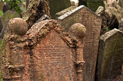 Prague Jewish Cemetary. Czech Republic, Old tombstone with hebrew lettering stock photos