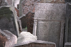 Prague Jewish cemetary. Gravestones at Prague's ancient Jewish cemetary royalty free stock photography