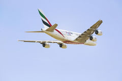 PRAGUE - 1 JULY 2015: An Emirates Airbus A380 Superjumbo in PRAGUE. The Airbus A380 is the world's largest passenger airliner. Royalty Free Stock Photography