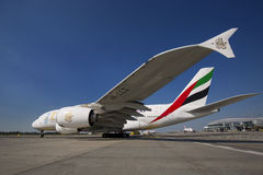 PRAGUE - July 1, 2015: Emirates Airbus A380 at Vaclav Havel Airport Prague on July 1, 2015. PRAGUE - July 1, 2015: Emirates Airbus A380 at Vaclav Havel Airport Stock Photos