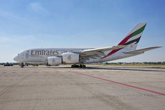 PRAGUE - July 1, 2015: Emirates Airbus A380 at Vaclav Havel Airport Prague on July 1, 2015 Stock Image