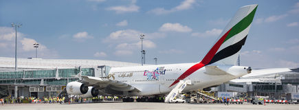 PRAGUE - July 1, 2015: Emirates Airbus A380 at Vaclav Havel Airport Prague on July 1, 2015. PRAGUE - July 1, 2015: Emirates Airbus A380 at Vaclav Havel Airport Royalty Free Stock Images