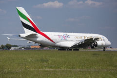 PRAGUE - July 1, 2015: Emirates Airbus A380 at Vaclav Havel Airport Prague on July 1, 2015. The A380 is currently the largest passenger airliner Stock Photos