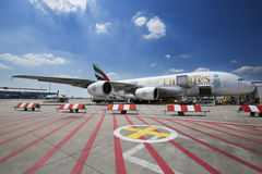 PRAGUE - July 1, 2015: Emirates Airbus A380 at Vaclav Havel Airport Prague on July 1, 2015. The A380 is currently the largest passenger airliner Stock Photo