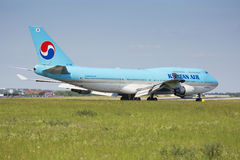 PRAGUE - JULY 01: Korean air airliner landing on July 1, 2015 in Prague, Czech Republic. The Boeing 747-400  is currently second t Stock Image
