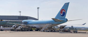 PRAGUE - JULY 1: Korean Air Boeing 747-400 on the aircraft parking stand in Vaclav Havel Prague Airport on July 1, 2015 Stock Photo