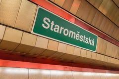 Staromestska underground station royalty free stock photography