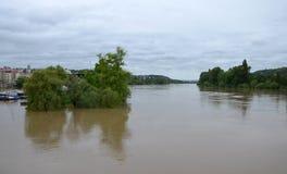 PRAGUE - JUN 4: Flooding in Prague. Swollen river Vltava. Royalty Free Stock Photo