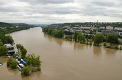 PRAGUE - JUN 4: Flooding in Prague. Swollen river Vltava. Stock Images
