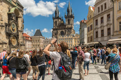 PRAGUE - JUN 23, 2015: One of the famous popular travel place in world. stock image
