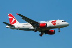 A319. PRAGUE - JUNE 6: Airbus A319 Czech airlines land in PRG in Prague, CZE on June 6, 2015. Czech airlines was founded in 1923. Airlines are flag carrier of Royalty Free Stock Photos
