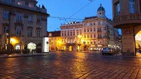 PRAGUE - JUNE 6: Night traffic in the center of Prague time lapse stock footage