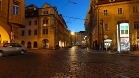 PRAGUE - JUNE 6: Night traffic in the center of Prague time lapse. PRAGUE - JUNE 6: Night traffic in the center of Prague on June 6, 2017 in Prague stock video