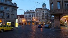 PRAGUE - JUNE 6: Night traffic in the center of Prague time lapse stock video