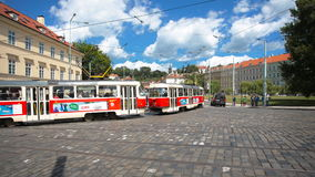 PRAGUE - JUNE 6: Time lapse shot. Cars, trams, and buses cross the crossroad on June 6, 2017 in Prague. PRAGUE - JUNE 6: Time lapse shot, Cars, trams, and buses stock video