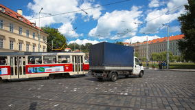PRAGUE - JUNE 6: Time lapse shot. Cars, trams, and buses cross the crossroad on June 6, 2017 in Prague. PRAGUE - JUNE 6: Time lapse shot, Cars, trams, and buses stock video footage