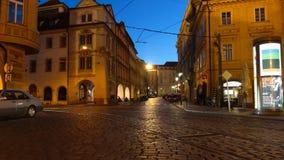 PRAGUE - JUNE 6: Time lapse shot of Night traffic in the center of Prague on June 6, 2017 in Prague. PRAGUE - JUNE 6: Time lapse shoting of Night traffic in the stock video