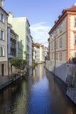 Prague kanal royaltyfria foton