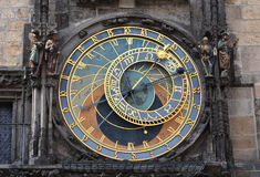 Prague klocka royaltyfria foton
