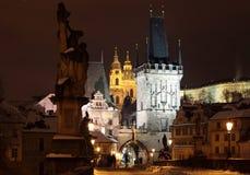 Prague la nuit Image libre de droits