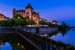 Prague landmark, night view, Czech Republic stock photos
