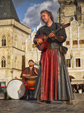 Prague Landmark People Music. Musicians -The group Bohemian Bards in medieval clothes playing on the Old Town Square in Prague, Czech Republic. Music of this stock photos