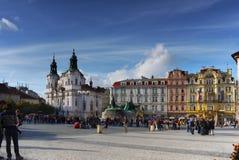 Prague Czech Republic. Prague - Landmark - UNESCO. Tourists at the Old Town Square in Prague, Czech Republic royalty free stock images