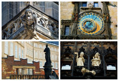 Prague landmarks. Detail of historic buildings and landmarks in Prague: St. Vitus Cathedral, Astronomical Clock, Hradcany, Powder Gate Royalty Free Stock Photography