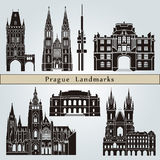 Prague landmarks and monuments. Isolated on blue background in editable vector file Royalty Free Stock Photography
