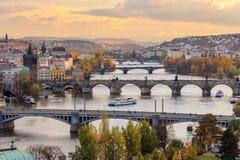 Prague bridges. Prague landscape with historical bridges and Vltava river Royalty Free Stock Photo